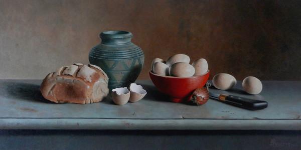 Brot und Eier mit portugiesischer Vase