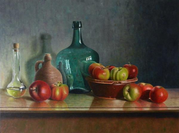 Äpfel mit Arzneiflasche
